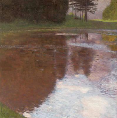 Pond Painting - Tranquil Pond, Egelsee Near Golling, Salzburg by Gustav Klimt