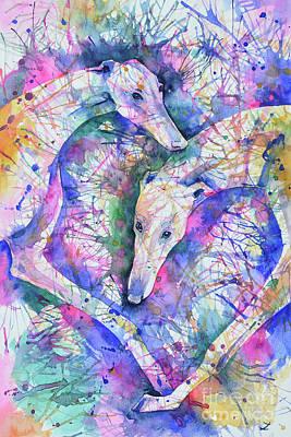 Painting - Transcendent Greyhounds by Zaira Dzhaubaeva