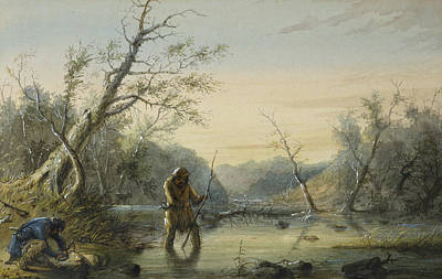 Beaver Painting - Trapping Beaver by Alfred Jacob Miller