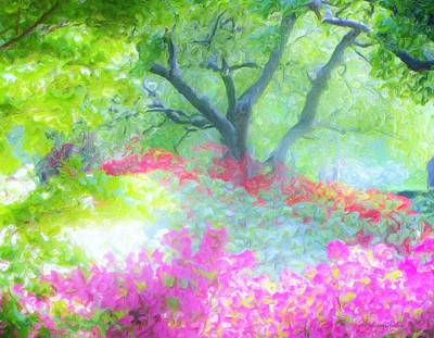 Tree And Azalea Bushes Art Print by Susanna  Katherine