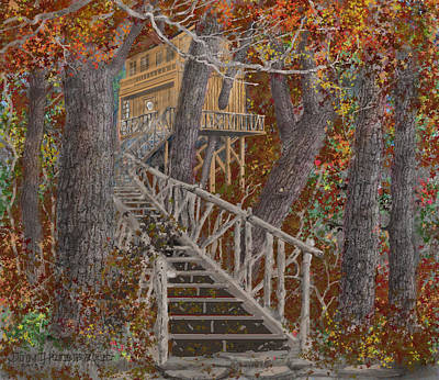 Drawing - Tree House #1  by Jim Hubbard