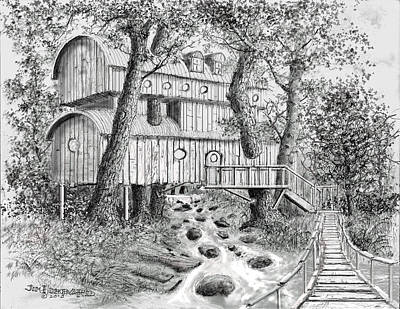 Drawing - Tree House #5 by Jim Hubbard