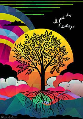 Relaxing Digital Art - Tree by Mark Ashkenazi