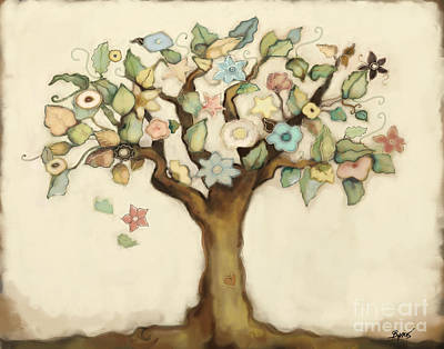 Mixed Media - Tree Of Life And Love by Carrie Joy Byrnes