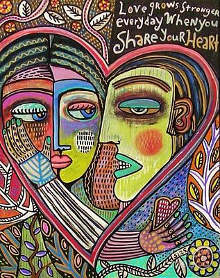 Totem Pole Painting - Tree Of Life Heart Lovers by Sandra Silberzweig