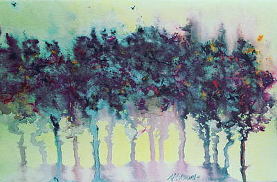 Painting - Trees With Hummingbird 4 by Marna Edwards Flavell