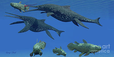 Triassic Painting - Triassic Shonisaurus Marine Reptile by Corey Ford