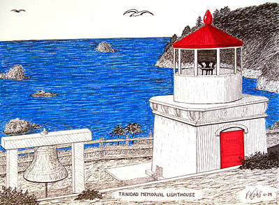 Pen And Ink Drawings Drawing - Trinidad Memorial Lighthouse by Frederic Kohli