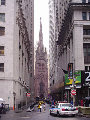 Police Photograph - Trinity Church From Wall Street by Erin Cadigan