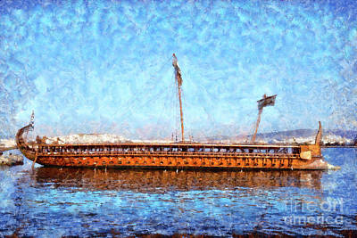 Painting - Trireme Olympias Moored By The Stern by George Atsametakis