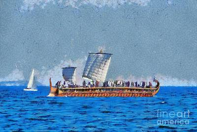 Painting - Trireme Olympias Sailing With Open Sails by George Atsametakis