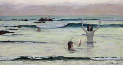 Newts Painting - Tritons by Rupert Bunny