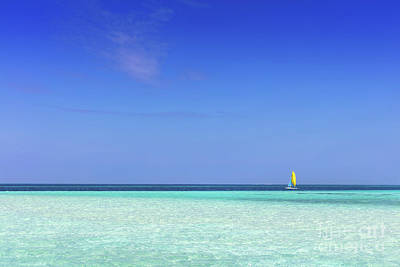 Calm Photograph - Tropical Beach With White Sand And Clear Turquoise Ocean. Maldives by Michal Bednarek