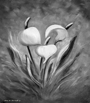 Painting - Tropical Flowers In Black And White by Gina De Gorna