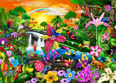 Dart Frogs Digital Art - Tropical Frogs by Gerald Newton