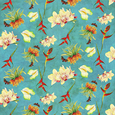 Beach Painting - Tropical Island Floral Half Drop Pattern by Audrey Jeanne Roberts
