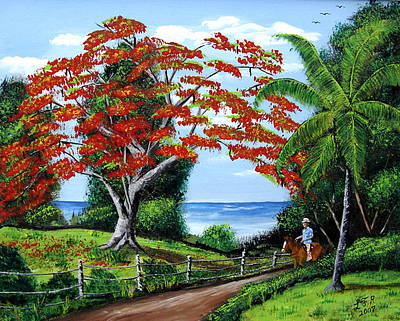 Flamboyan Tree Painting - Tropical Landscape by Luis F Rodriguez