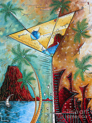 Painting - Tropical Martini Original Painting Fun Pop Art Style By Megan Duncanson by Megan Duncanson