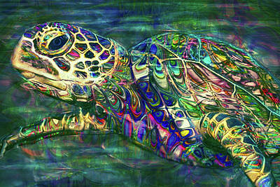 Sea Turtles Mixed Media - Tropical Sea Turtle 2 by Jack Zulli