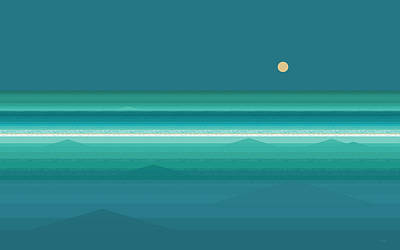 Art Print featuring the digital art Tropical Sea Moonrise by Val Arie