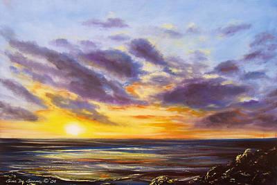 Tropical Sunset Art Print by Gina De Gorna