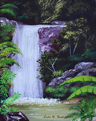 Tropical Waterfall Art Print by Luis F Rodriguez