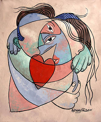 Woman In Shower Painting - True Love, When Two Become One by Anthony Falbo