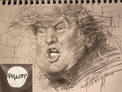 Hillary Clinton Drawing - Trump by Ylli Haruni