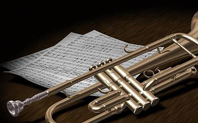 Music Digital Art - Trumpet by Super Lovely