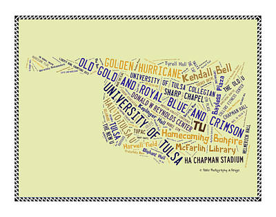 Oklahoma University Digital Art - Tu Word Art University Of Tulsa by Roberta Peake
