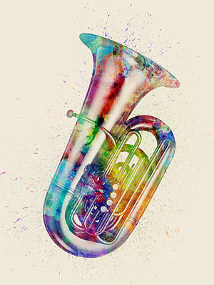 Musical Instrument Digital Art - Tuba Abstract Watercolor by Michael Tompsett