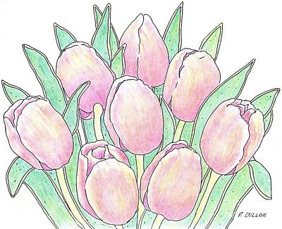 Drawing - Tulip Bouquet by Frances  Dillon