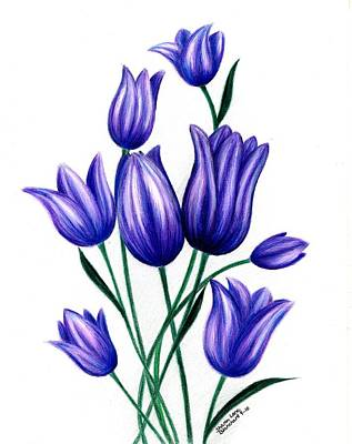 Lavender Drawing - Tulips For Harry by Sharon Blanchard