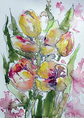 Purple Tulip Painting - Tulips by Kovacs Anna Brigitta