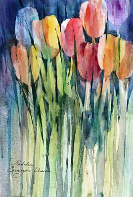 Green Painting - Tulips by Natalia Eremeyeva Duarte