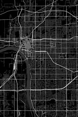 Personalized Name License Plates - Tulsa Oklahoma USA Dark Map by Jurq Studio
