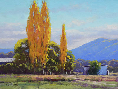 Paintings - Tumut Autumn Poplars by Graham Gercken