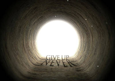 Never Give Up Digital Art - Tunnel Text And Shadow Concept by Allan Swart