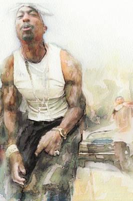 America Painting - Tupac 15 by Jani Heinonen