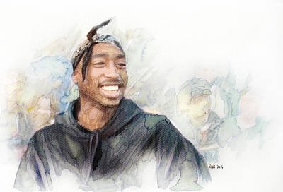 Beverly Hills Drawing - Tupac 21 by Jani Heinonen