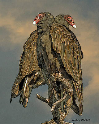 Vulture Digital Art - Turkey Vulture Pair by Larry Linton