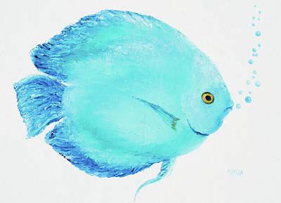 Aquarium Fish Painting - Turquoise Tropical Fish by Jan Matson