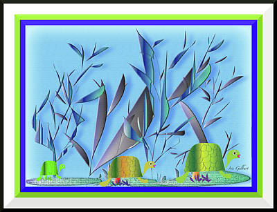 Digital Art - Turtle Garden by Iris Gelbart