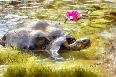 Painting - Turtle Takes A Swim by Ricky Dean