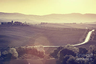 Photograph - Tuscany Fields And Valleys Autumn Landscape, Italy. Sunset, Vintage Light by Michal Bednarek