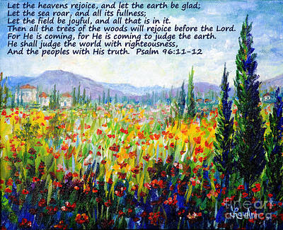 Painting - Tuscany Fields With Scripture by Lou Ann Bagnall