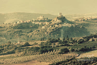 Shine Photograph - Tuscany Landscape With Ancient Castle, Vineyard And Green Hills, Italy. Vintage by Michal Bednarek