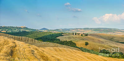 Tuscany Landscape With Rolling Hills At Sunset, Val D'orcia, Ita Art Print