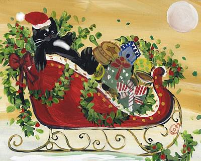 Tuxedo Santa Claus  Cat Art Print by Sylvia Pimental