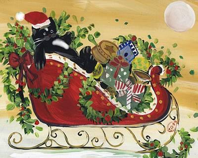 Tuxedo Santa Claus  Cat Print by Sylvia Pimental